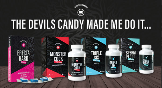 The Devils Candy Made Me Do It banner, it shows 4 products. all you need is sex